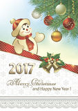 Happy New Year 2017. With a Christmas tree and a snowman on the background of snowflakes stock illustration