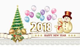 Happy New Year 2018 with a Christmas tree and snowmen. Celebrating the New Year 2018 with a Christmas tree and balloons vector illustration