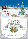 Happy New Year 2018 with Christmas tree and snowmen. And Christmas decorations decorated with an ornament and a silver bow vector illustration