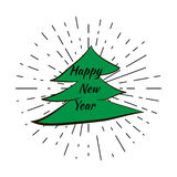 Happy new year and Christmas Tree with vintage sun star burst frame Stock Images