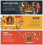 Happy New Year 2018 or Christmas web banners vector design template of Dog cartoon character. Happy New Year 2018 or Christmas web banners design template for Stock Images