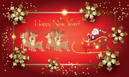 Santa Claus Winter Holiday christmas reindeer vintage Royalty Free Stock Image
