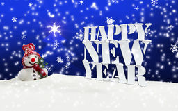 Happy New Year Christmas Winter Snow. Blue Stock Images