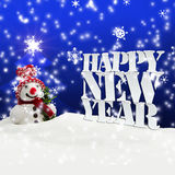 Happy New Year Christmas Winter Snow. Blue Royalty Free Stock Images