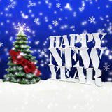 Happy New Year Christmas Winter Snow. Blue Stock Image