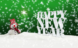 Happy New Year Christmas Winter Snow. Green Stock Photo