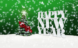 Happy New Year Christmas Winter Snow. Green Royalty Free Stock Photography