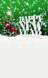 Happy New Year Christmas Winter Snow. Green Stock Photography