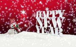 Happy New Year Christmas Winter Snow. Red Royalty Free Stock Photo