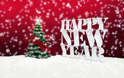 Happy New Year Christmas Winter Snow. Red Royalty Free Stock Photos