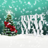 Happy New Year Christmas Winter Snow. Turquoise Royalty Free Stock Photography