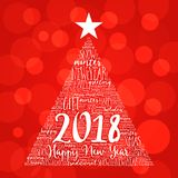 Happy New Year 2018, Christmas word cloud. Holidays lettering collage in the shape of a christmas tree royalty free stock photo