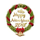 Happy New Year 2018. Christmas wreath with a congratulatory inscription. Golden lettering. Vector illustration isolated on white background Stock Image