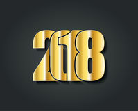 2018 Happy New Year or Christmascreative design gold numbers Stock Image