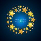 Happy New Year and Christms Background with Golden Stars. Vector Illustration. EPS10 stock illustration