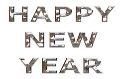 Happy New Year Chrome. Happy new year message in chrome on an isolated white background with a clipping path Royalty Free Stock Image
