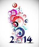 Happy New Year 2014. Circle Design Stock Image