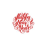 Happy New Year circle hand lettering logo   Stock Images