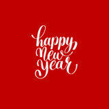 Happy New Year circle hand lettering logo congratulate inscription Stock Photography
