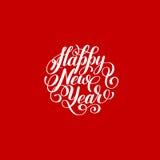 Happy New Year circle hand lettering logo congratulate inscription Stock Photos
