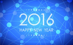 Happy new year 2016 in circle link pattern on dark blue background Stock Photos
