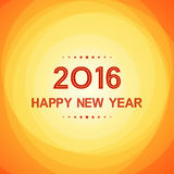 Happy new year 2016 in circle pattern on summer orange background. Happy new year 2016 in circle pattern on abstract summer orange background Stock Image