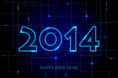 2014 Happy New Year Circuit Board backgroun Stock Photography