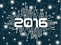 2016 HAPPY NEW YEAR CIRCUIT WITH STARS BLUE. AND MERRY CHRISTMAS Royalty Free Stock Photography