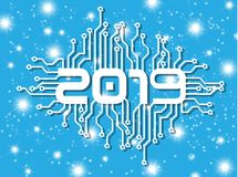 2019 HAPPY NEW YEAR CIRCUIT WITH STARS BLUE. Simple royalty free illustration