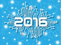 2016 HAPPY NEW YEAR CIRCUIT WITH STARS. 2016 happy new year circuit whith stars background for web Stock Illustration