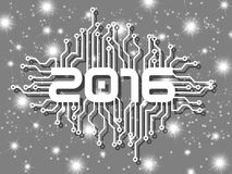 2016 happy new year circuit with stars. Happy new year 2016 written on a gray background with stars Royalty Free Stock Photography