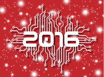 2016 happy new year circuit with stars. Written 2016 model circuit good year on red background with stars Royalty Free Stock Photography