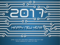 2017 happy new year circuit technology  Royalty Free Stock Images
