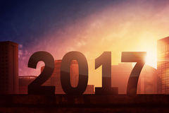 Happy new year 2017. City background Stock Image