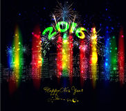 Happy new year city colourful with firework. Happy new year 2016 with firework city at night stock illustration