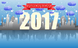 Happy new year 2017. Happy new year 2017 with cityscape skyline on cloudy day.Vector EPS 10 Illustration Stock Photography
