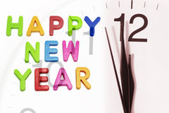 Happy New Year and Clock Royalty Free Stock Photo