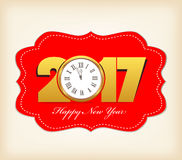 Happy New Year 2017 with clock Royalty Free Stock Photos