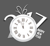 Happy New Year 2017 with clock.  Stock Photography
