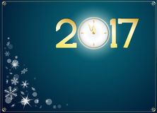 Happy new year 2017 with clock abtract background. Snow and happy new year 2017 with clock abtract background Stock Photos