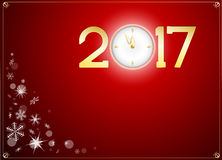 Happy new year 2017 with clock abtract background. Snow and happy new year 2017 with clock abtract background Royalty Free Stock Photography