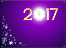 Happy new year 2017 with clock abtract background. Snow and happy new year 2017 with clock abtract background Stock Images