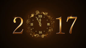 Happy New Year clock. Happy New Year background with magic gold clock countdown. Golden numbers 2017. Christmas night design light and glitter. Symbol of wish Stock Photos