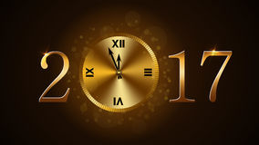 Happy New Year clock. Happy New Year background with magic gold clock countdown. Golden numbers 2017. Christmas night design light and glitter. Symbol of wish Royalty Free Stock Image