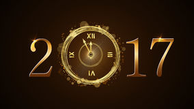 Happy New Year clock. Happy New Year background with magic gold clock countdown. Golden numbers 2017. Christmas night design light and glitter. Symbol of wish Royalty Free Stock Images
