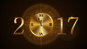 Happy New Year clock. Happy New Year background with magic gold clock countdown. Golden numbers 2017. Christmas night design light and glitter. Symbol of wish Stock Photography