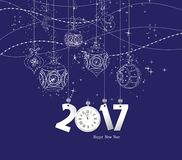 Happy new year 2017 clock and ball.  stock illustration