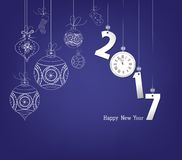 Happy new year 2017 clock and ball Stock Photo