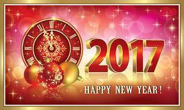 Happy New Year 2017 with clock and balls  .   Happy New Year 2017 with clock and balls on luminous background Royalty Free Stock Photos