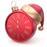 Happy New Year clock bauble Christmas ball Santa hat timer Stock Photography